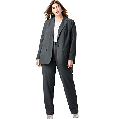 Jessica London Women's Plus Size Single Breasted Pant Suit - Black, 14 W