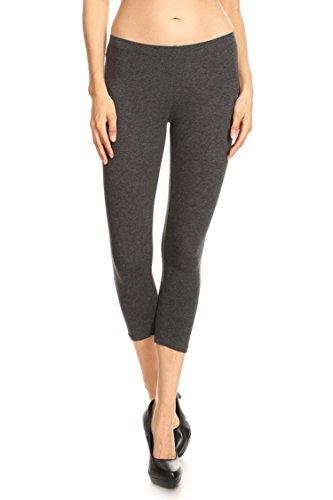 Leggings Mania Cropped Cotton Spandex Leggings Capri Tights Charcoal Medium
