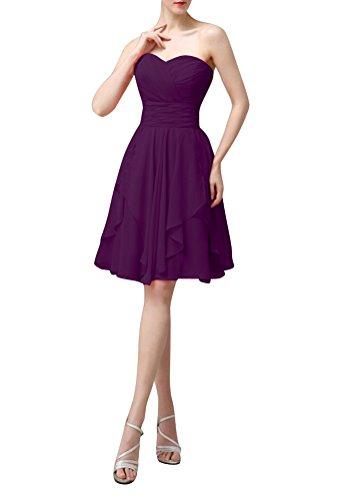 WeiYin Women's Knee Length Sweetheart Party Dress Bridesmaid Dresses Plum US2