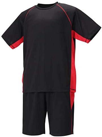 Mc.S.P 吸汗速乾 半袖 Tシャツ + ハーフパンツ ブラック × レッド 1256-0220-4 3L 4L 5L 6L 8L 大きいサイズ メンズ