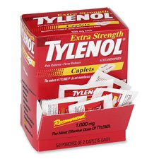 Tylenol Extra Strength Caplet Refills, 2 Caplets Per Packet, 50-Pack Box - Caplets Box