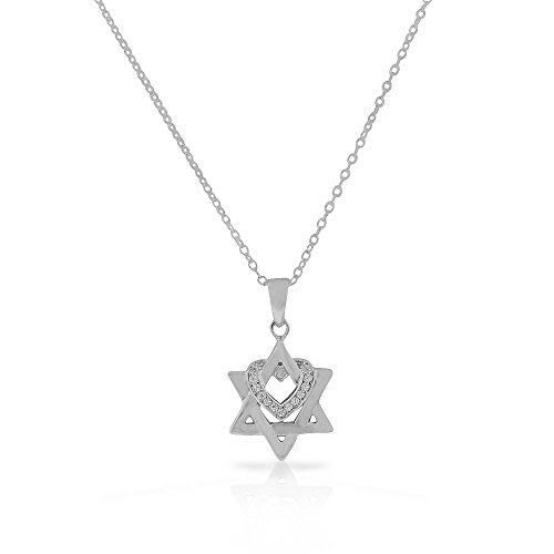 - 925 Sterling Silver White Clear CZ Jewish Star of David Love Heart Pendant Necklace