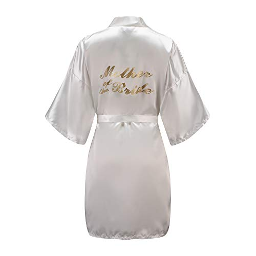 (EPLAZA Women One Size Bride Bridesmaid Robes with Gold Glitter for Wedding Party (White, Mother of The Bride))