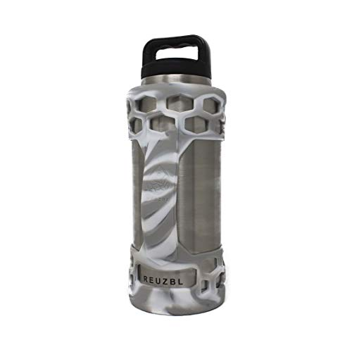(REUZBL Bottle Bumper Silicone Sleeve Protector with Handle for Yeti Flask, 26oz 36oz (Camo White, 36oz))