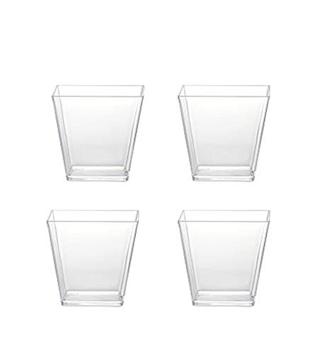 Sohapy 40 Pack 5 oz Tall Square Food Grade Clear Plastic Dessert Tumbler Cups for Tiramisu,Cakes,Ice cream,Parfait, Dip, Sundaes,and ()