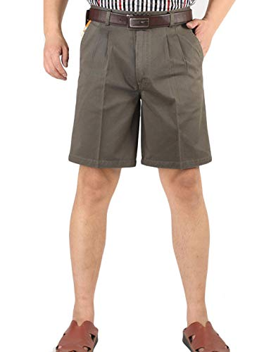 Yeokou Men's Classic Weekend Oxford Pleated Front Golf Shorts(Dark khaki-40)