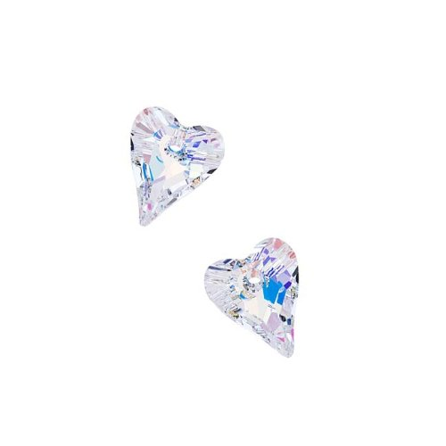 Crystal Ab Heart Beads (Swarovski Crystal, #6240 Wild Heart Pendants 12mm, 2 Pieces, Crystal AB)