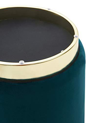 Repose-Pieds en Velours Coiffeuse Tabouret Siège Pouf de Salon Design Moderne Vintage Rond Chaise Deco Bas en Métal Gold (Vert)