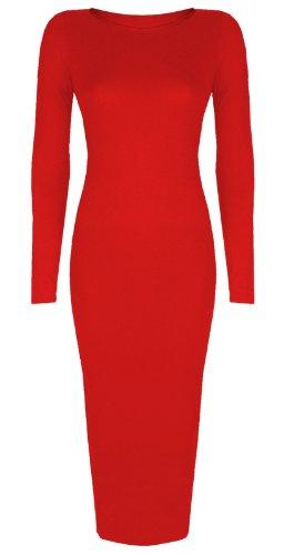 Femmes Célébrité inspiré Uni Manches Longues Midi Moulante Robe Mi-mollet -Taille 8-26 - Rouge, Femme, XXL/XXXL EU 52/54