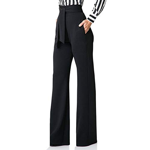 Seltaon Women's Wide Legs Pants Comfy Stretchy Straight High Waist with Belt Palazzo Pants Black