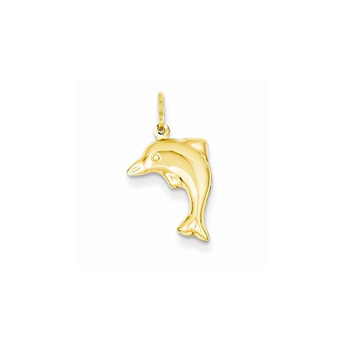 14k Yellow Gold Hollow Dolphin Charm - 14k Hollow Dolphin Charm
