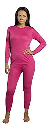 Mighty Hugs Womens Thermal Set 2pc Long John Underwear Smooth Knit (Small, Hot Pink)