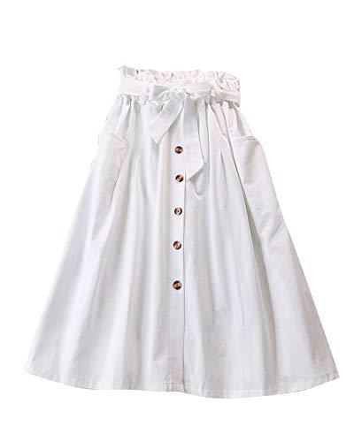 Midi Jupe Plisse de Femmes Vintage De Taille Haute Jupes Longue Poches Blanc