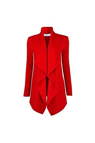 coloré Blazer Décontracté Manteau Xl Manches Pour Jacket À Femmes Oudan Red Taille Longues naRfwqPnx