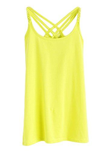 Tanktop Senza Shirt Basics Donna Grigio e Canottiera Canotte Top giallo Maniche Casuale 5U7fnqx