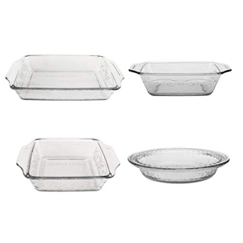Anchor Hocking 4-Piece Laurel Embossed Clear Bake Set by Anchor Hocking