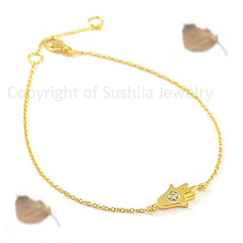 Solid 14k Yellow Gold Hamsa Hand Diamond Charm Bracelet Handmade Christmas Fine Jewelry