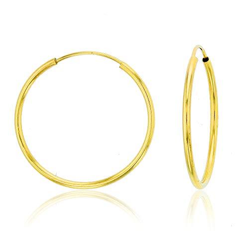 - Solid 14K Gold 1mm Tube Cartilage Endless Flex Hoop Earrings | Huggies Hoops for Women Teens & Girls | Hypoallergenic | Multi Piercing Cartilage Hoop Earrings | Continuous Round | Size, 16mm