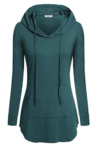 Nandashe Cowl Neck Sweaters for Women, Teenage Girls Fashionable Simple Design Round Collar Long-Sleeved Tunic Hoodies for Walking Running Hiking Camping Gym Workout Fitness Outdoor Exercises Aqua - Girls Clothes Teenage