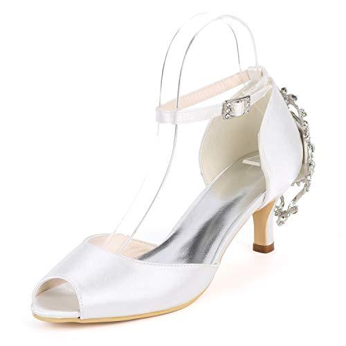 Zapatos Hebilla Cristal Medio De White L Toe Medios Cm yc 6 Novia tacones Peep Tacones Tacón Boda H5nqxB