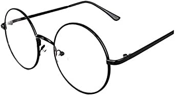 Oversized Metal Round Retro Eyeglasses Black Frame Flat Glasses for Unisex