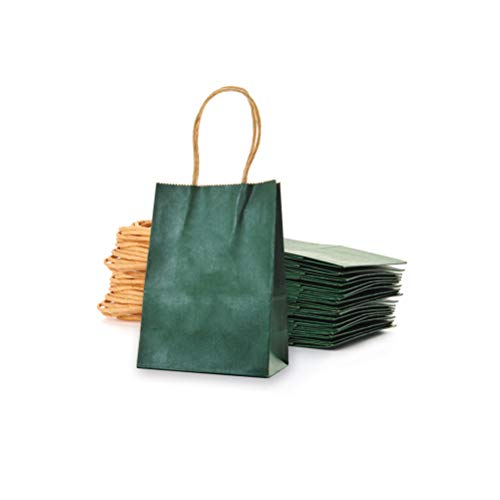 AWELL Small Dark Green Paper Bag with Handle Party Favours Bag 6x4.5x2.5 inch for Chiristmas Wedding Birthday Recycled Bag, Pack of 24 (Green Paper Favor Bags)