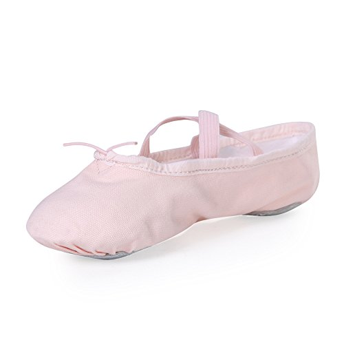 STELLE Girls Canvas Ballet Slipper/Ballet Shoe/Yoga Dance Shoe (Toddler/Little Kid/Big Kid/Women/Boy) (10MT, Ballet Pink) - Pink Ballet Flats