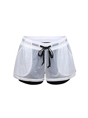 OCHENTA Mujeres Secado rápido Capas dobles Spandex 2-en-1 Entrenamiento Fitness Deportes Yoga Corriendo Pantalones cortos Negro