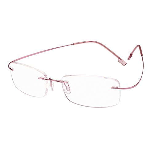 Beison Memory Titanium Stainless Steel Rimless Flexible Reading Glasses (Pink, 2.0)
