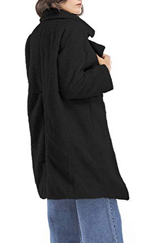 Caldo Inverno Blackmyth Risvolto Women Unita Cappotto Peloso Manica Autunno Nero Lunga Tinta Casual Outwear qqnaPHpx