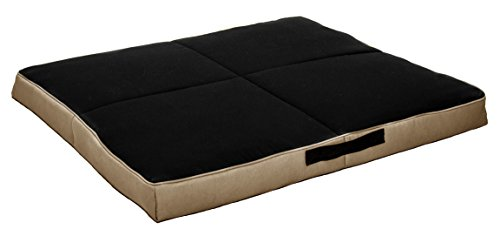 Wake&Wag 41 by 37 by 3.5-Inch Khaki & Black Extra-Large Dog Bed
