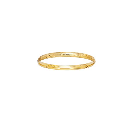JewelStop 14k Yellow Gold 3mm Engraved Baby Children Kids Bangle Bracelet - 5.5'' by JewelStop
