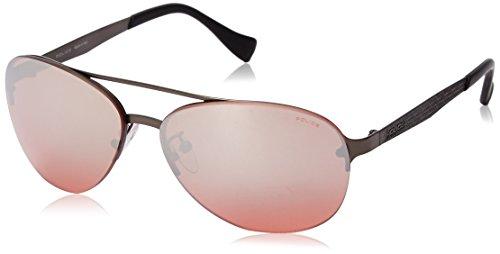 Police Men's S8956M 61627X Aviator Sunglasses, Matte Gun Metal & Red Mirror, 61 - Usa Police Sunglasses