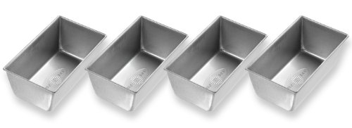USA Pan Bakeware Mini Loaf Pan, Set of 4, Nonstick & Quick Release Coating, Made in the USA from Aluminized Steel ()