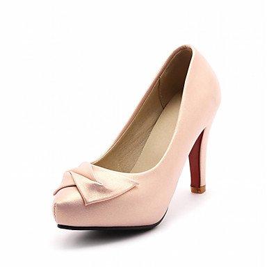 Talones de las mujeres del resorte de la caída Confort de cuero para oficina y del partido de la carrera y del vestido de noche del tacón de aguja del Bowknot Verde Rosa Blanco Beige Pink