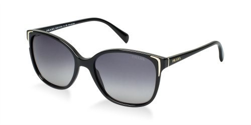 Prada PR01OS 1AB5W1 Black PR01OS Butterfly Sunglasses Polarised Lens Category - Sunglasses Butterfly Prada