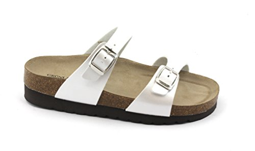 Grunland Hola CB0527 White Pearl Slippers Anatomical Birk Woman Bianco h82DSzdNM