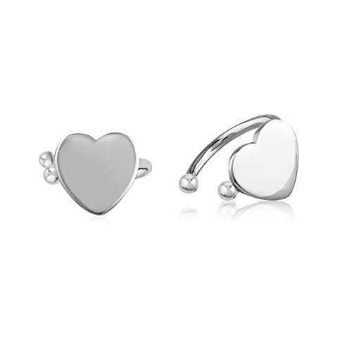 - 925 Sterling Silver Solid Heart Bar Band No Pierce Ear Cuff Wrap Earrings Set of Two (2) 9 x 7mm