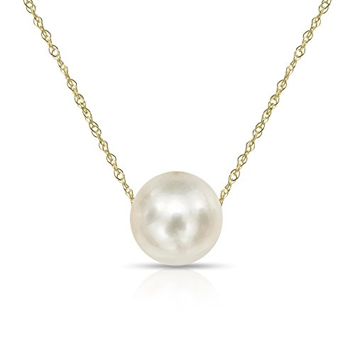 "14K Yellow Gold Chain with 10-10.5mm White Freshwater Cultured Pearl Floating Pendant Necklace, 18"" Mothers Day Gift"