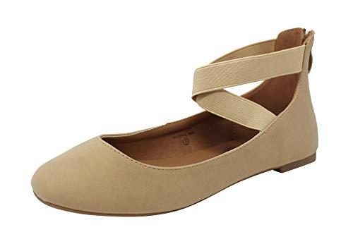 Tall Flats And Big - Anna Dana-21 Women's Classic Ballerina Flats Elastic Crossing Straps, Natural Nubuck, 9