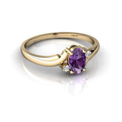 14kt Gold Amethyst and Diamond 6x4mm Oval Swirls Ring Jewels For Me