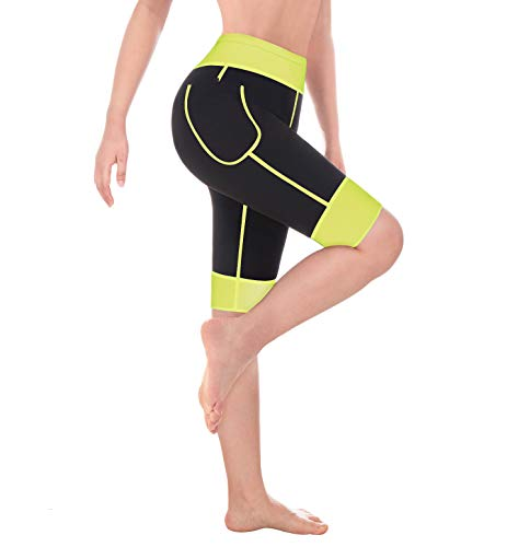 Wonderience Women Sauna Weight Loss Slimming Neoprene Pants with Side Pocket Hot Thermo Fat Burning Sweat Leggings (Fluorescent Green, M) ()