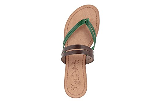 MISS BUTTERFLY Femme - Tongs en Cuir - MB115_DB_Green