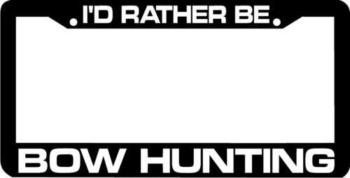 I'd Rather Be Bow Hunting License Plate Frame Tag, Slim Aluminum Metal Car Plate Frame with Screw Caps - 2 Holes Car License Plate Cover for US Vehicles