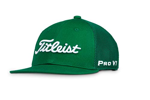 Hunter Hat White - Titleist Men's Tour Flat Bill Mesh Golf Hat, Hunter/White