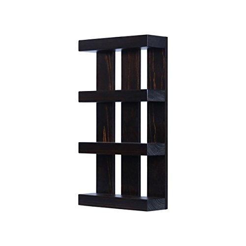 Solid Wood 4 tier Wall Mount Shelves Home Decor Decoration for Bathroom, Living Room, Kitchen and Entryway Made in the USA by Rooms Organized (Expresso, 22'' h x 15'' w x 4.25'' deep) by Rooms Organized (Image #1)