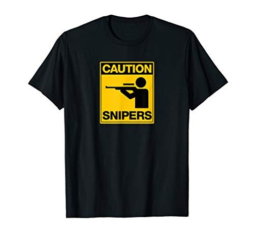 Caution Snipers T Shirt Funny FPS Gamer, Rifle Scope Design (Best Small Rifle Scope)