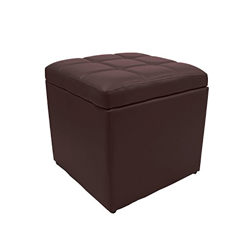 Magshion*Unfold Leather Storage Ottoman Bench Footstools Square (Brown)