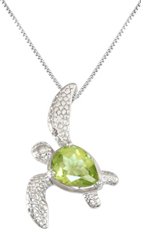 Sterling Silver Peridot Birthstone Turtle Necklace Pendant With 18