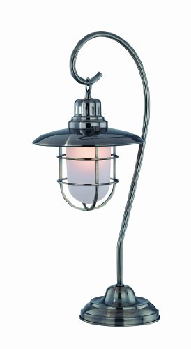Lite Source LS-21455AB Lanterna Table Lamp, Antique Brass Metal Lantern with Glass Shade